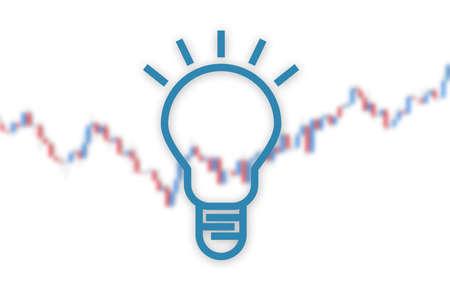 Idea lamp on market chart background. 3D illustration