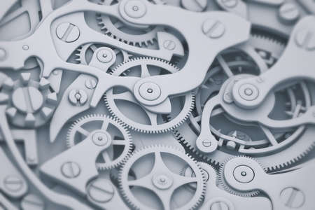 Watch mechanism in gray and blue tones 3D illustration with gears Stock Photo