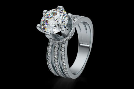 Jewelry engagement diamond ring platinum 3D rendering Stock Photo