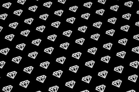 Diamonds texture on black background 3D illustration.