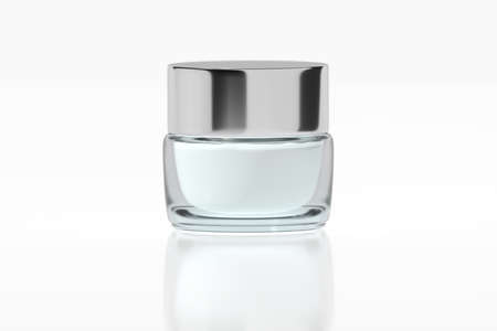 Glass jar with chrome glossy plastic lid 3D rendering