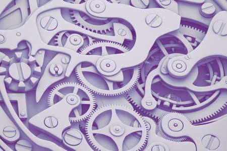 Watch mechanism in fashion colors tones 3D illustration with gears