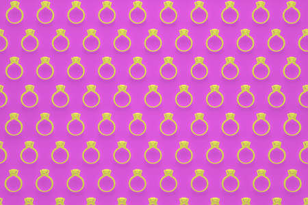 Engagement rings pattern in yellow color on rose background 3D rendering