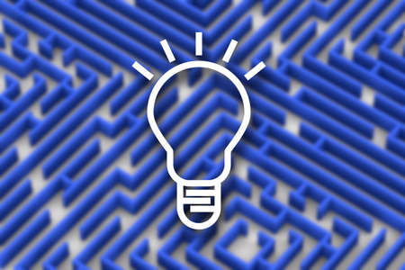 Idea lamp on blue color maze background 版權商用圖片