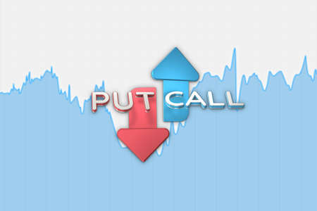 Binary option with chart put and call arrows blue color on white background. 3D illustration on grid textured background. Stock market chart.
