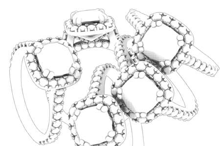 asscher: Jewelry sketch engagement white rings with round cut diamonds and asscher isolated on white. Template for graphic design, decoration and packing. Stock Photo