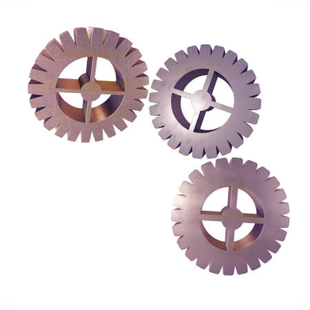 Metal set of gears on white background fashion toned. 3D illustration.