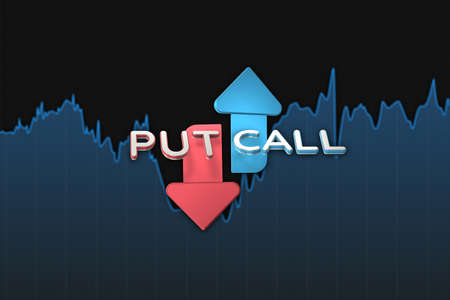 Put and call color arrows binary option chart on black. 3D illustration Archivio Fotografico
