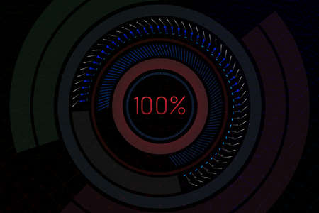Geometrical background with hud elements and 100 percent text. 3D illustration.