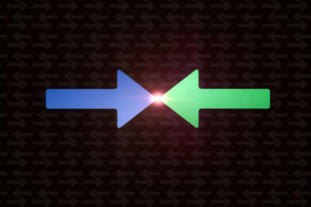 Color arrows denoting conflict. Flat format