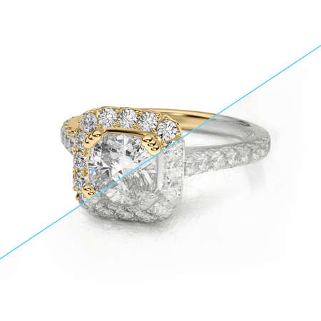 Jewelry engagement diamond gold ring 3D rendering and pencil sketch Stock Photo