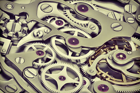 Clock machinery 3D rendering with gears close-up view