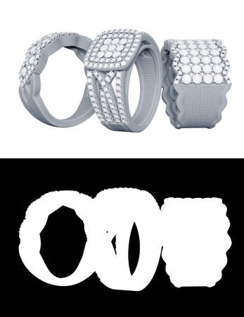 Jewelry rings with diamonds 3D rendering in wireframe mesh and matte channel