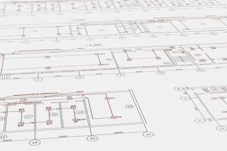 Architect plans, technical project drawing with fire alarm detectors