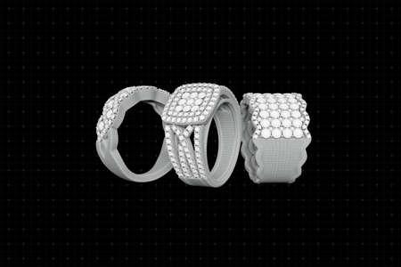 와이어 프레임 그리드에서 다이아몬드 3D 렌더링과 보석 반지