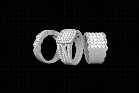 Jewelry rings with diamonds 3D rendering in wireframe grid