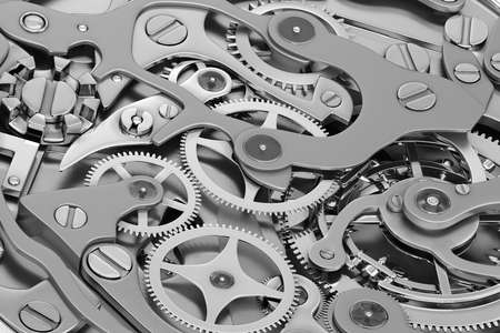 Clock machinery 3D rendering with gears close-up view grayscale 写真素材