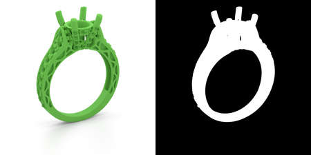Wax 3D jewelry model of engagement ring with alpha matte. 3D rendering Stok Fotoğraf