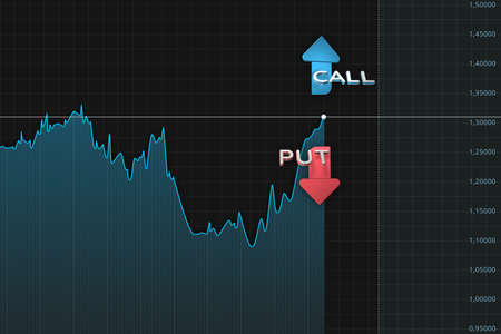 Market chart with put and call color arrows binary option. 3D illustration Stok Fotoğraf