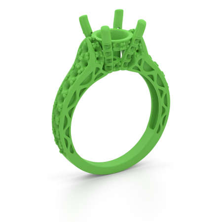 Wax 3D print jewelry model of engagement ring. 3D rendering