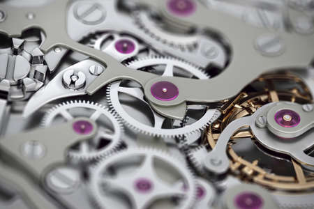 Watch machinery 3D rendering with gears close-up view with dof Stok Fotoğraf