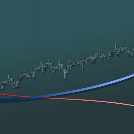 Market chart up trend with long shadows on dark background. 3D illustration