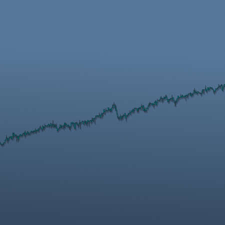 Market bars chart trend with long shadows on blue background. 3D illustration