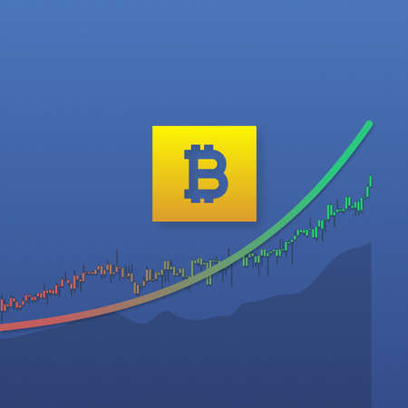 Bitcoin growth with market chart lines and long shadows. 3D illustration Stok Fotoğraf