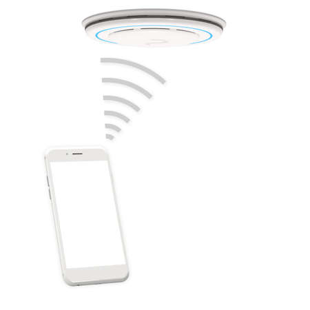 Detector alarm wifi connect with smartphone on white background. 3D rendering