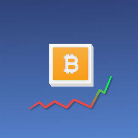 Bitcoin growth with market graph show debut. 3D illustration