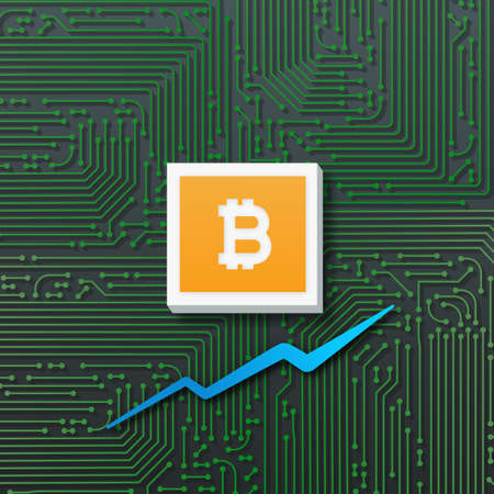 Bitcoin growth with market chart graph and circuit board. 3D illustration