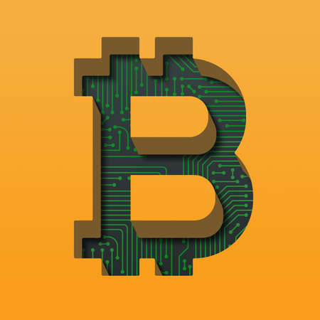 Bitcoin with circuit board background and long shadows. 3D illustration
