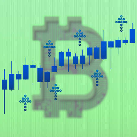 Bitcoin growth market chart and up arrows with blur effect. 3D illustration