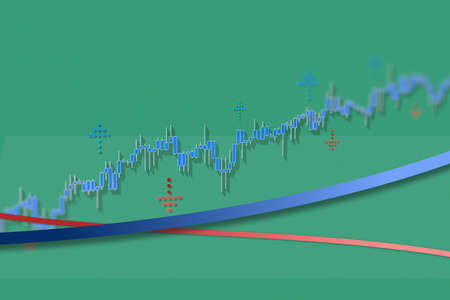 Market chart growth trend with long shadows on green grid background. 3D illustration with dof effect.