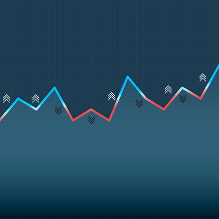 Growing graph with shadows and arrows on dark blue background. Market graph for option, forex, exchange. Vector illustration Çizim