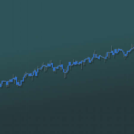 Stock market bars chart growing trend with long shadows on dark background. 3D illustration