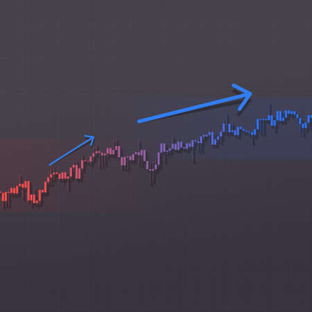 Stock market bars chart growing higher trend with up arrows and shadows on dark background. 3D illustration for business data report financial charts.