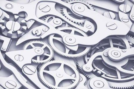 Clock machinery 3D rendering with gears close-up view. Flat fashion colors style. Stok Fotoğraf