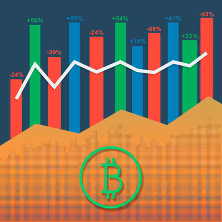 Bitcoin logotype cryptocurrency with market growth graph and volumes columns.