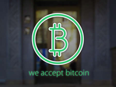 Logo Bitcoin over facade with blur effect and text we accept bitcoin. 3D illustration