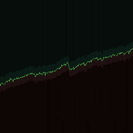 Stock market chart growing trend on dark background. 3D illustration