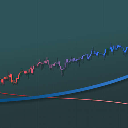Stock market chart growing trend with long shadows and lines. 3D illustration