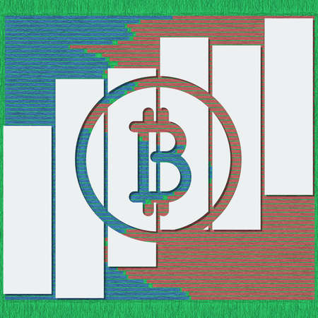 Bitcoin logotype with shadows and lines in sketch format. 3D illustration for business data report financial charts.