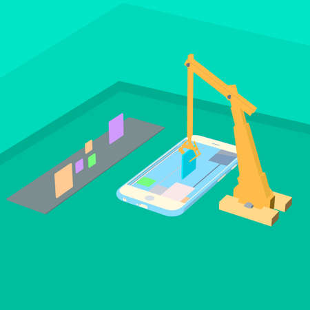 Mobile technology creative process with crane. Visualization flat 3d web isometric infographic concept vector. Placing building blocks to smartphone.