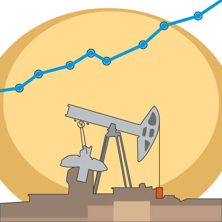 Pumping oil rig with grows blue color chart. Vector flat illustrations