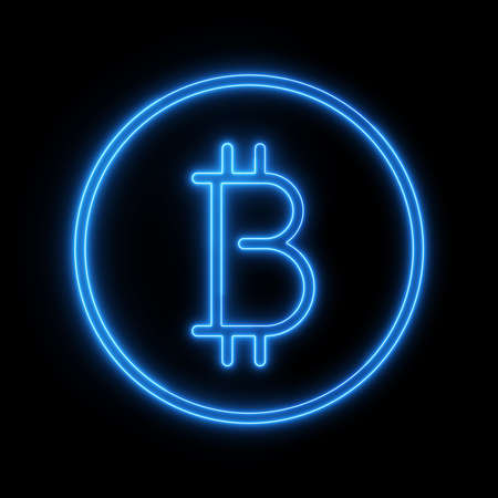 Bitcoin neon logotype cryptocurrency with black background. 3d illustration