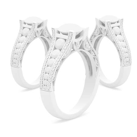 White color jewelry rings of 3d rendering model with shadows Stok Fotoğraf