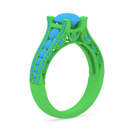 Wax 3D print jewelry model of engagement ring with diamonds. 3D rendering Stok Fotoğraf