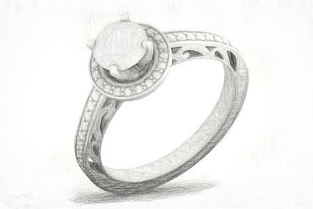 Jewelry sketch texture of engagement ring. 3D rendering