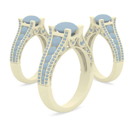 Plastic material jewelry rings of 3d rendering with shadows on white